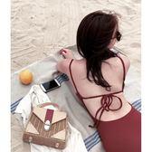 韓版簡單性感純色露背bikini 小胸聚攏遮肚顯瘦連體三角泳衣女式