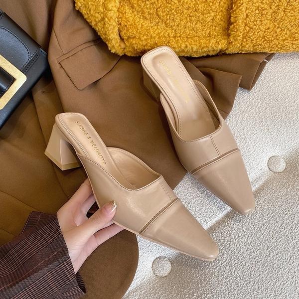 穆勒鞋 拖鞋女外穿2021春季新款網紅百搭時尚包頭半拖韓版粗跟復古穆勒鞋 小天使 618