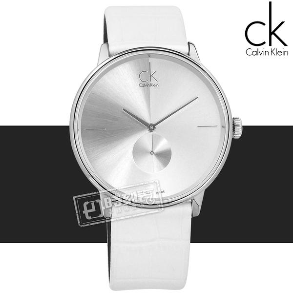 CK / K2Y211K6 / Uhren Accent 獨立秒針 瑞士機芯 壓紋皮革手錶 銀x白 40mm