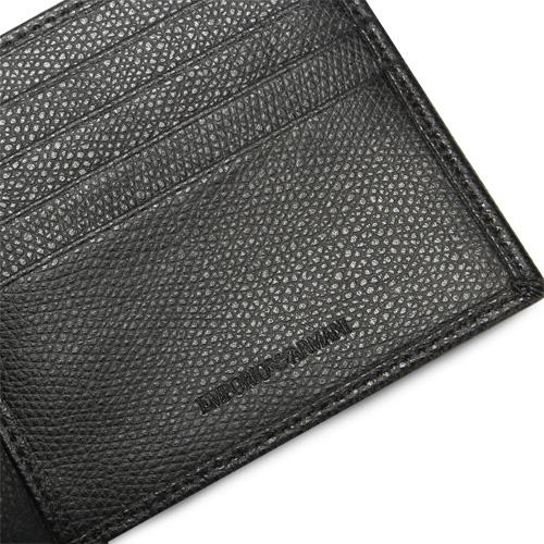 EMPORIO ARMANI 經典老鷹金屬logo真皮短夾(黑色)102130