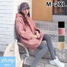 【V2191】shiny藍格子-簡單樸實‧純色中長款連帽長袖上衣