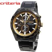 [萬年鐘錶]  SEIKO Criteria 太陽能 三眼 計時碼錶  黑金錶面 黑殼 黑錶帶 男錶 42mm SSC659P1(V176-0AV0K)