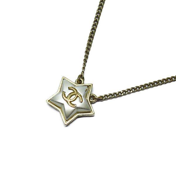 CHANEL 香奈兒 米色復古星星造型LOGO墜飾項鍊 【BRAND OFF】
