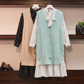 顯瘦點點印花搭配毛絨絨針織背心套裝(洋裝+背心)-大尺碼 獨具衣格
