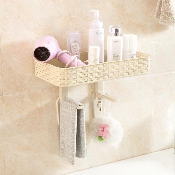 免打孔浴室置物架壁掛衛生間用品吸壁式廁所馬桶塑料收納架【限時八五折】