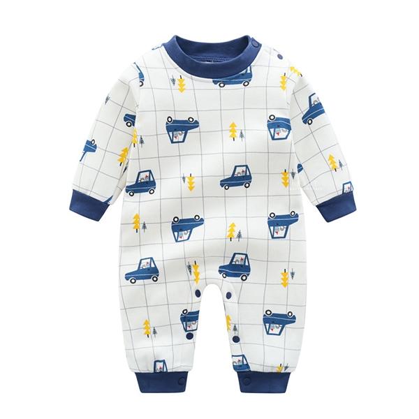 小動物汽車加厚長袖包屁衣 長袖包屁衣 連身衣 嬰兒裝 包屁衣
