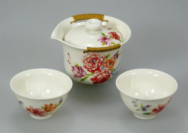 鹿港窯~居家開運商品~三希(台灣製)牡丹花-茶具組(一壺二杯)