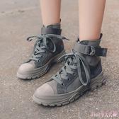 2019秋季新款馬丁靴女英倫風學生百搭透氣薄款厚底高幫短靴子 XN7291【Rose中大尺碼】