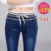 BOBO小中大尺碼【2652】中腰鬆緊條紋牛仔窄管褲-S-6L