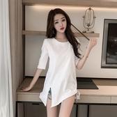 五分袖上衣 竹節棉T恤女寬鬆半袖白色打底衫大碼中長款開叉女圓領五分袖夏季-Ballet朵朵