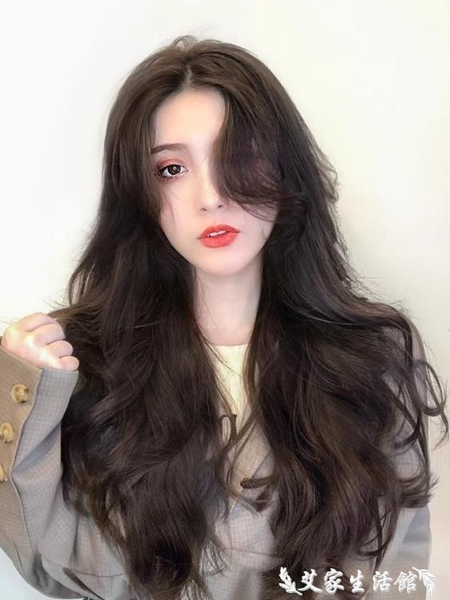 假髮假髮女長髮假髮貼片蓬鬆一片式無痕接髮片隱形仿真髮長卷髮假髮片 艾家