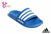 adidas 拖鞋 成人男款 防水 內裡速乾 經典三線設計 玩水戲水 運動拖鞋 R9336#藍色◆OSOME奧森鞋業