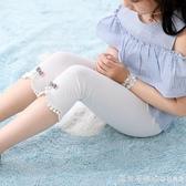 女童短褲兒童外穿打底褲薄款五分褲子超薄夏裝白色七分褲夏季冰絲 漾美眉韓衣