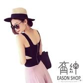 EASON SHOP(GW6651)韓版腰間挖洞鏤空短版露肚臍後拉鍊露肩寬肩帶吊帶針織背心女上衣服彈力貼身內搭