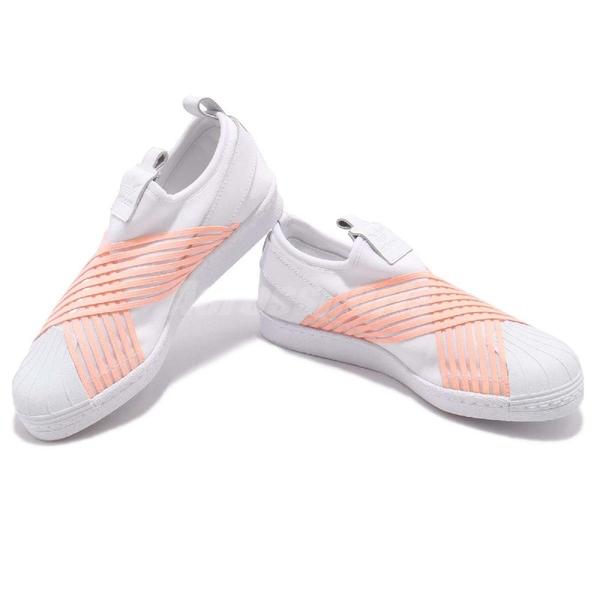 【五折特賣】adidas 繃帶鞋 Superstar Slip on W 交叉綁帶 白 橘 女鞋 無鞋帶 運動鞋 【ACS】 D96704
