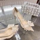 2021季新款高跟鞋女細跟百搭蝴蝶結網紗蕾絲尖頭淺口單鞋女婚鞋