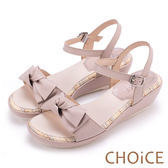 CHOiCE 甜美舒適 交叉蝴蝶結真皮楔型涼鞋-粉紅