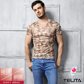 【TELITA】吸溼涼爽短袖T恤 V領衫 沙漠綠