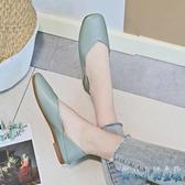 方頭奶奶鞋女春秋2020新款軟底百搭瓢鞋網紅少女軟皮舒適豆豆鞋女鞋潮 OO5126【甜心小妮童裝】