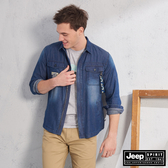 【JEEP】型男百搭襯衫式外套(藍)