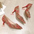 婚鞋女新款紅色高跟鞋