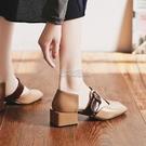 包頭涼鞋女新款夏季仙女風百搭復古方頭一字扣晚晚中粗跟單鞋 快速出貨