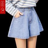 牛仔短褲女韓版高腰顯瘦寬鬆褲裙a字褲百搭闊腿熱褲 小艾時尚