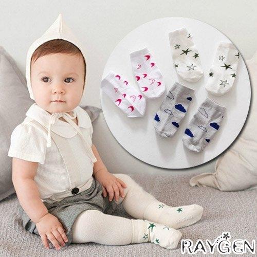 春夏新款 男女寶寶 棉質 星星 月亮 雲朵 卡通短襪 嬰幼兒 小襪子