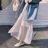 半身裙 長裙7513 早春重工水溶蕾絲不規則拼接白色a字半身裙NB38快時尚