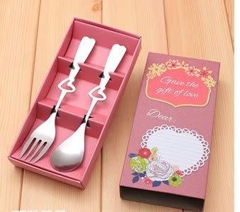 婚禮小物~~2入粉紫色彩盒叉勺餐具禮盒/盒
