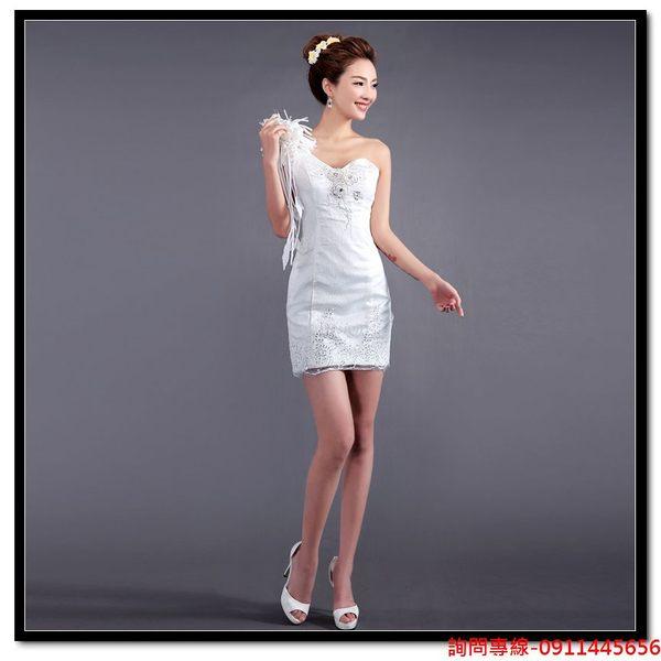 (45 Design)  訂做款式7天到貨  伴娘小禮服 新娘結婚敬酒服前短後長婚紗晚禮服