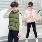 兒童羽絨棉馬甲男童女童背心保暖外穿中大童立領坎肩外套