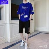 夏季休閒套裝棉料短袖大碼t恤短褲男孩運動兩件套青少年衣服 LR19300【Sweet家居】