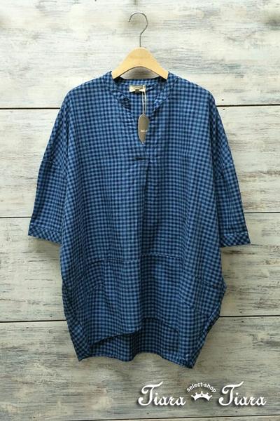 【Tiara Tiara】百貨同步aw 細格紋開襟半袖純棉長短版襯衫(藍/咖啡/黑白)