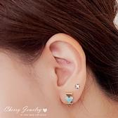 大理石紋三直排三角形耳環 【櫻桃飾品】【10539】