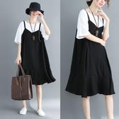 洋氣連衣裙胖妹妹大碼女胖mm2019新款顯瘦假兩件套減齡吊帶雪紡裙