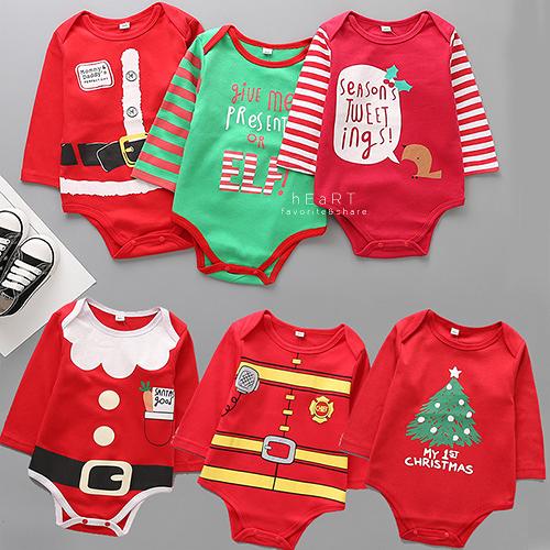 Xmas聖誕棉感長袖包屁衣 童裝 長袖 包屁衣