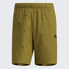 Adidas FI SHORT AOP 男裝 短褲 休閒 滿版印花 LOGO 拉鍊口袋 綠【運動世界】GP0947