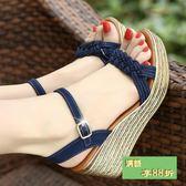 百麗晶客夏季新款鬆糕涼鞋女波西米亞厚底高跟女鞋一字帶坡跟涼鞋 最後一天8折