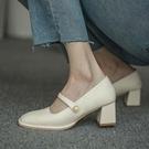 高跟鞋粗跟瑪麗珍鞋女復古春秋季赫本風設計感小眾單鞋【慢客生活】
