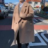 2019冬季韓版毛呢子中長款大衣學生寬鬆男士刺繡潮牌日系風衣外套