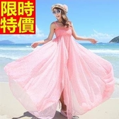 長洋裝-波希米亞風甜美點點高腰大裙襬渡假連身裙65af45【巴黎精品】