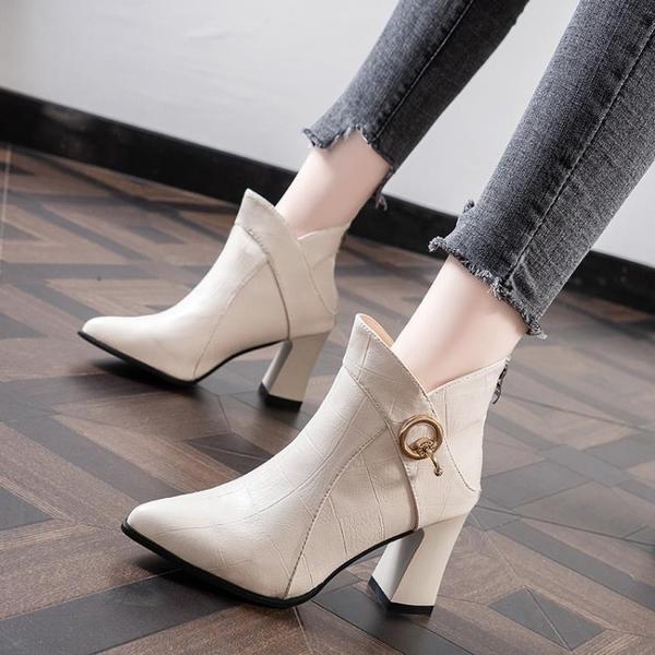 馬丁靴女高跟鞋尖頭2021秋冬新款韓版媽媽鞋粗跟時尚短靴百搭裸靴 3C數位百貨