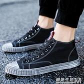 韓版男士秋季高筒鞋潮流透氣帆布鞋男鞋子潮鞋日常休閒鞋短靴高筒