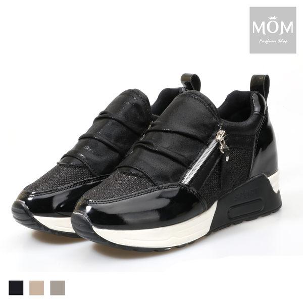 NG福利品出清 內增高閃耀亮皮側拉鍊氣墊休閒鞋【現貨】 *MOM*