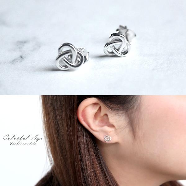 銀飾 交錯美感耳針耳環NPD204