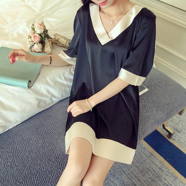睡衣 冰絲清新高貴睡裙中長款裙子可外穿 巴黎春天