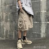 夏季潮流暗黑高街立體貼袋工裝褲休閑短褲男女 洛小仙女鞋