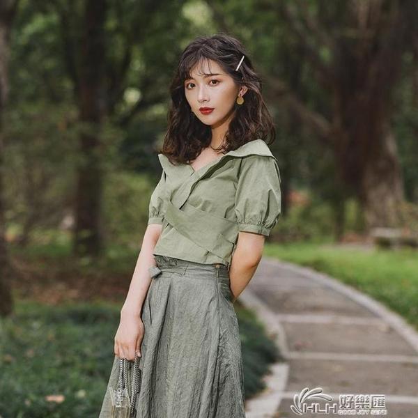 2020夏季新款上衣綠色顯瘦休閒復古法式短袖襯衫女設計感小眾 快意購物網