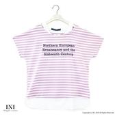 【INI】穿著設計、假兩件式好感條紋上衣.粉色